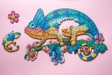 Avontuurlijke Kameleon, kartonnen doos_